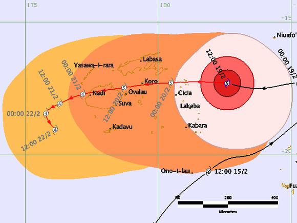 Cyclone Winston Fiji forecast track